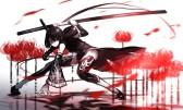 konachan-com-220600-black_eyes-black_hair-braids-flowers-fufu_fufuichi04-hoodie-katana-monochrome-original-ponytail-sword-weapon