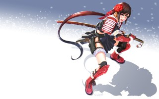 konachan-com-221209-gloves-gun-headdress-katana-long_hair-nopan-original-ponytail-red_eyes-samurai-seifuku-skirt-sword-weapon