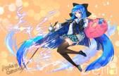 konachan-com-221941-applecaramel_acaramel-blue_hair-long_hair-seifuku-sword-thighhighs-trickster-weapon-yellow_eyes-zettai_ryouiki