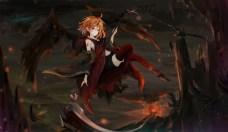 konachan-com-222050-animal-bird-cape-orange_hair-original-pointed_ears-red_eyes-scythe-shiina_kuro-short_hair-thighhighs-weapon-wings