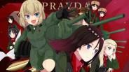 konachan-com-222345-akiyama_yukari-blonde_hair-blue_eyes-brown_hair-combat_vehicle-erwin-fang-glasses-gray_eyes-hat-katyusha-military-nonna-weapon