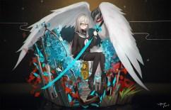 konachan-com-222503-animal-bird-cang_yue_xue_feng-pantyhose-seifuku-shiraha_yuuki-signed-skirt-sword-touran-sai-weapon-wings-yellow_eyes