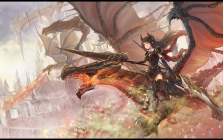 konachan-com-223980-gloves-granblue_fantasy-horns-koroneko_p0w0q-long_hair-pointed_ears-red_eyes-shingeki_no_bahamut-weapon
