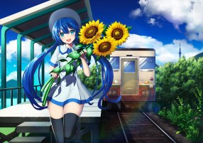 konachan-com-208463-clouds-defiaz_infinity-dress-flowers-hat-hatsune_miku-leaves-long_hair-sunflower-thighhighs-train-twintails-vocaloid-zettai_ryouiki