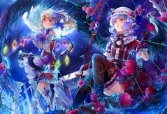 konachan-com-209421-2girls-ekita_gen-flowers-garter-gloves-hat-kneehighs-moon-night-pointed_ears-ponytail-rose-short_hair-stars-thighhighs-touhou-vampire-wings