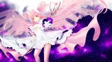 konachan-com-226667-breasts-choker-cleavage-dress-flowers-gloves-long_hair-navel-petals-pink_hair-rimuu-rose-space-stars-stockings-twintails-watermark-weapon-wings