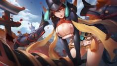 konachan-com-230829-armor-autumn-black_hair-breasts-building-cameltoe-cleavage-leaves-orange_eyes-original-panties-samurai-skirt-sword-torii-underwear-weapon