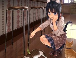 Konachan.com - 205949 animal animal_ears black_hair blue_eyes cat catgirl cropped namamizu000 original short_hair tail