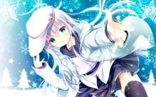 konachan-com-231422-aqua_eyes-blue_hair-blush-hat-hibiki_kancolle-kantai_collection-long_hair-seifuku-shirogane_hina-skirt-snow-verniy_kancolle