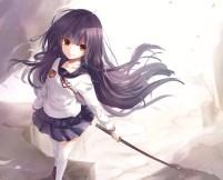 Konachan.com - 235069 black_hair hiiragi_mahiru jne long_hair orange_eyes owari_no_seraph petals ribbons seifuku skirt sword thighhighs weapon