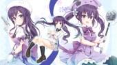 Konachan.com - 236334 blush bow braids dress gloves gun hat kneehighs long_hair niiya pantyhose purple_eyes purple_hair seifuku skirt tedeza_rize twintails weapon