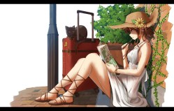 Konachan.com - 206303 animal brown_hair cat dress flask_(pandora) hat leaves original summer wet wristwear