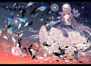 Konachan.com - 206538 catgirl gray_hair headdress kneehighs lolita_fashion long_hair original red_eyes sunset umi_no_mizu