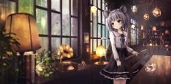Konachan.com - 225968 aliasing animal_ears apple228 gray_hair mousegirl nazrin rain red_eyes scenic short_hair tail touhou water