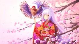 Konachan.com - 234405 animal animal_ears bird cherry_blossoms flowers foxgirl japanese_clothes kimono long_hair original petals purple_hair rizihike tail yellow_eyes