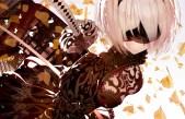 Konachan.com - 238325 atha blindfold breasts nier nier-_automata petals short_hair sword weapon yorha_unit_no._2_type_b