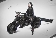 Konachan.com - 239130 gloves gray_hair green_eyes motorcycle original short_hair skirt sword thighhighs weapon yucca-612