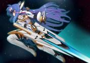 Konachan.com - 239444 blue_hair bodysuit kos-mos long_hair red_eyes shiro_manjuu_(shiroxie) thighhighs weapon