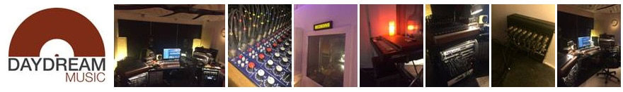 Banner collage photos of Day Dream Music Logo and recording studio photos