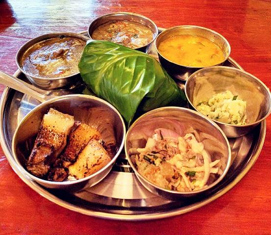Tribal food of Assam served on a platter