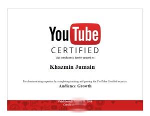 Khazmin YouTube certificate