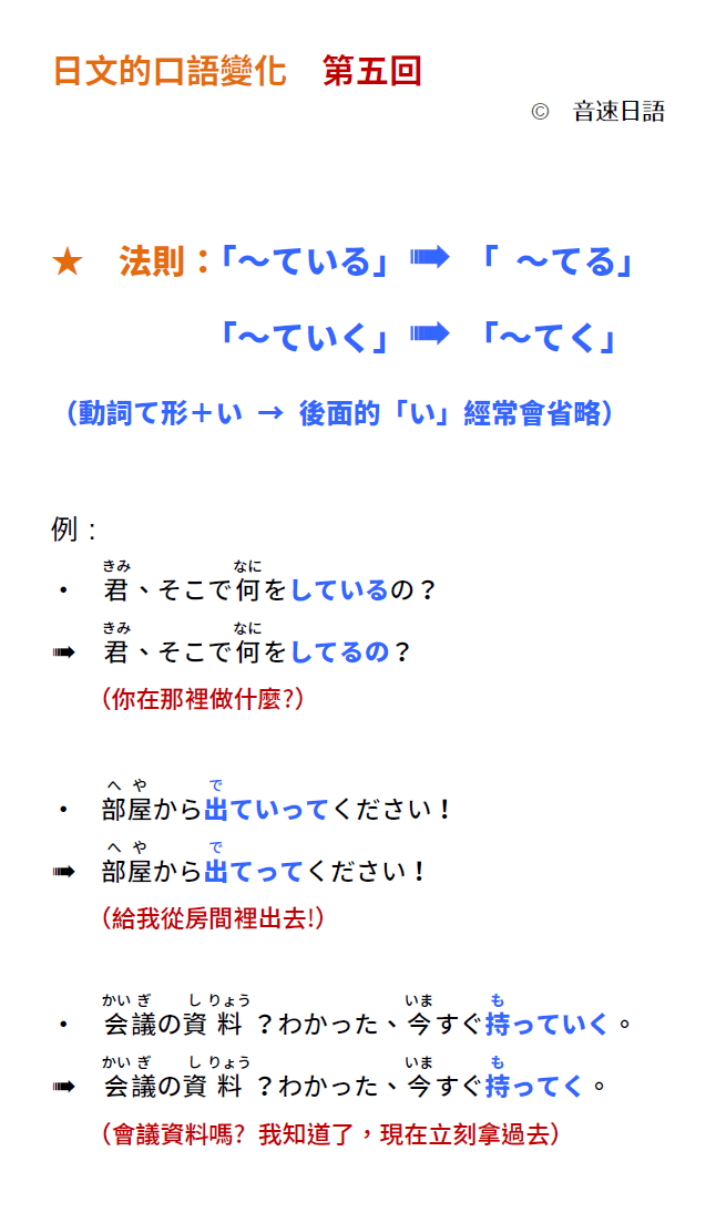 「日文的口語變化!第五回」 | 音速語言學習(日語)