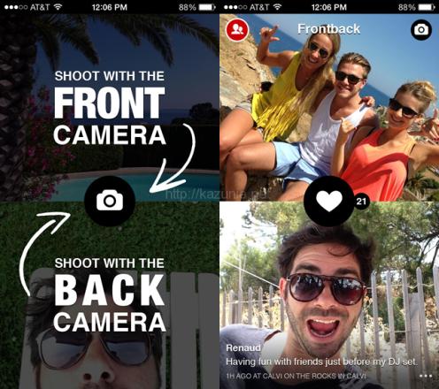 iPhoneのインカメラとアウトカメラで撮影した写真を合成して共有することが出来る無料アプリがおもしろい