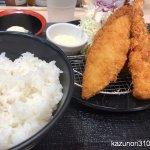#海鮮3種盛り定食 #松のや #白身魚フライ #アジフライ  #海老フライ