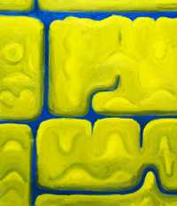 Naive symbolism, abstract landsacpe, hidden image, abstract 3d monsters, yellow mass pattern, abstract yellow color symbolism, complementary color theme, acrylic painting #2394, 2004 | Kazuya Akimoto Art Museum