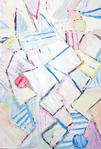abstract, geometric line pattern, striped, pastel color, awkwardly shaped, acrylic painting #5269, 2006 | Kazuya Akimoto Art Museum