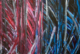 abstract thick line pattern, blue-red, comparison, juxtaposition, brush stroke pattern, dynamic movement, complementary color, acrylic painting #5338, 2006 | Kazuya Akimoto Art Museum