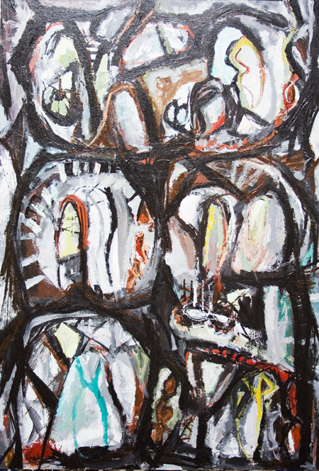 abstract allegory, plitical motif abstract expressionism , thick, bold , rough lines and strokes, monotone acrylic painting #5510, 2006 | Kazuya Akimoto Art Museum