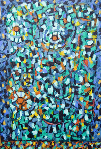 Christian biblical mythology, European literature music Salome theme contemporary pointillism mosaic pattern painting, abstract post impressionism, raw art, facial expression, abstract pointillist human face ,mosaic head painting, contemporary human face motif mosaic pattern painting #5796, 2006 | Kazuya Akimoto Art Museum