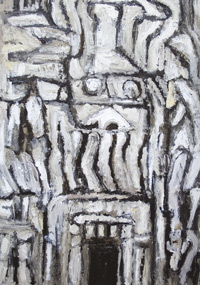 primitive, raw art, abstract, stone, nature scene, ambiguous symbolism, monotone, monochrome, symblolic sign element, thick line, abstract symbolic artifact, architectural, rough texture, entrance, acrylic painting #6506, 2007 | Kazuya Akimoto Art Museum