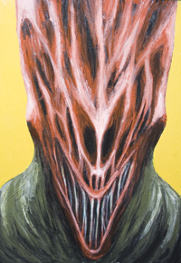 New, surrealism, surreal expressionism, facial expressions, European, legendary,  mythological,bloodsucking, evil spirit  monster portrait, bust, odd, weird, strange, eerie, monster face, surreal realism, acrylic painting #7191, 2008 | Kazuya Akimoto Art Museum