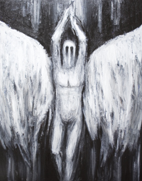 New, dark biblical, literature theme, black and white, archangel portrait, The War of Heaven theme, Jewish, Islamic, Christian, mythology, mythological ,classical theological theme, contemporary surrealism, surreal realism, acrylic painting # 7431, 2008 | Kazuya Akimoto Art Museum