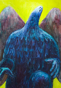 New, grim, eerie, scary, dark, death,  mythological symbolism painting, religious dark crying god, legendary monster,odd creature, weird open mouth angel , acrylic painting # 7585, 2008 | Kazuya Akimoto Art Museum