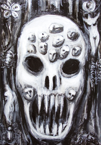 New, facial expression theme, black and white dark surrealism painting, eerie, strange, odd, scary, surreal skull face painting, #7977, 2008 | Kazuya Akimoto Art Museum