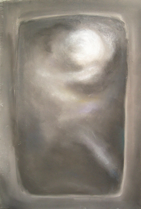 Pseudo-relief pastel image, gray, optical, monotone,  Greek, mythological, abstract human figure, abstract goddess, pastel painting pas133, 2003 | Kazuya Akimoto Art Museum
