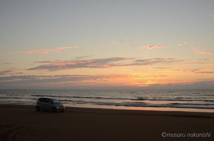 千里浜なぎさドライブウェイの夕焼け