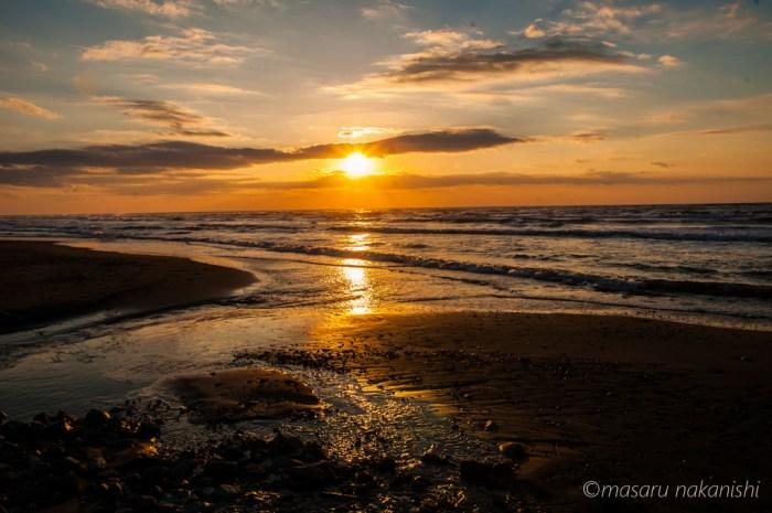 高松海岸の夕日