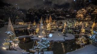金沢城・玉泉院丸庭園の雪の夜は美しい