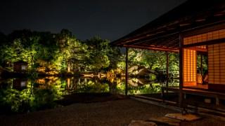福井市の養浩館庭園で秋のライトアップが始まっています