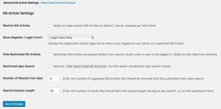 KB Article Settings
