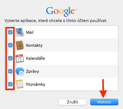 Apple Mail - výběr aplikací