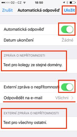iPhone - Nastavení automatické odpovědi