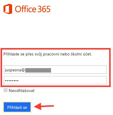 Office 365 - Přihlášení