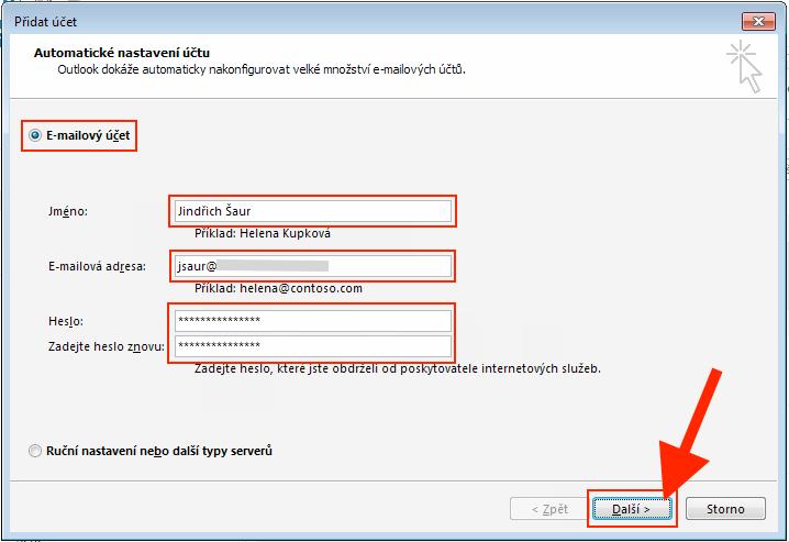 Outlook 2013 - Automatické nastavení účtu