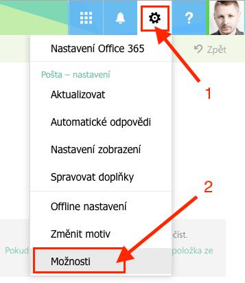 Webový Outlook - Možnosti