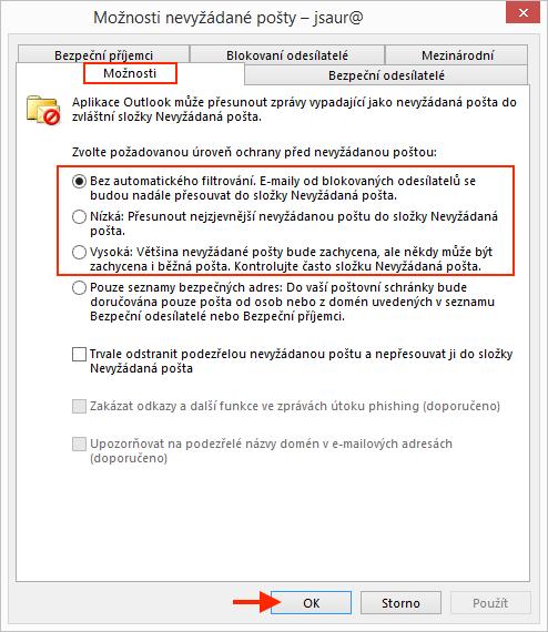 Outlook - Možnosti nevyžádané pošty
